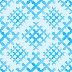 Soft blue crosses seamless pattern - vector abstract background