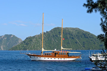 Turkish yacht near the pier
