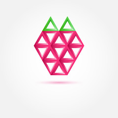 Strawberry Icon made with triangles - abstract vector symbol