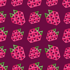 Strawberry seamless pattern - abstract vector background texture