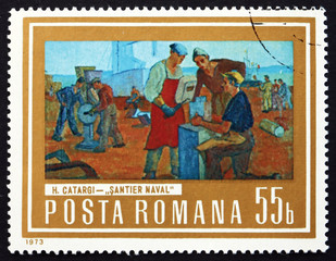 Postage stamp Romania 1973 Shipyard Workers, by Henri Catargi