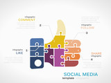 Social media infographic template with thumb up like poster