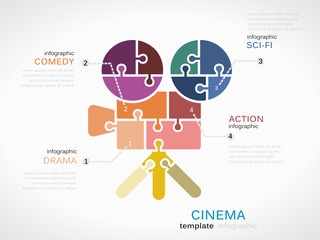 Cinema infographic template with camera