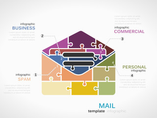 Infographic template with mail envelope made out of puzzle