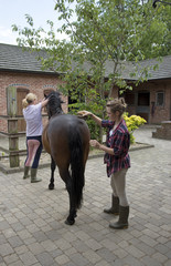 Young female rider preparing her pony in the stable yard