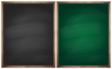 isolated blank black and green blackboards or chalkboards