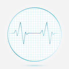 Vector heart beats cardiogram blue icon
