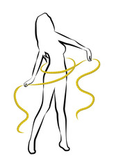 Silhouette woman with yellow metre