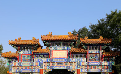 Traditional antique Chinese gate in Yonghe Temple, Beijing