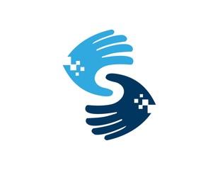 logo hands design, data in hand, letter S