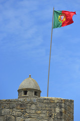 Portugal flag in fortress castle