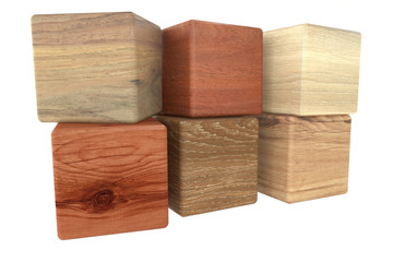 cubes of wood , parqet samples