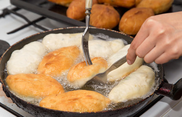 cakes fried in a pan