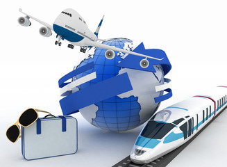 3d suitcase, airplane, train and globe. Travel concept