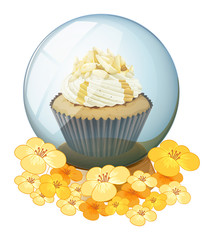 A cupcake inside the crystal ball