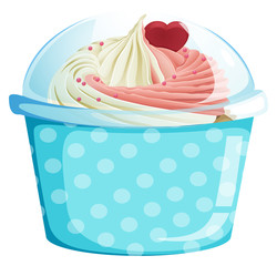 A dotted blue cupcake container