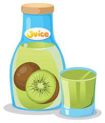 Kiwi juice in the bottle