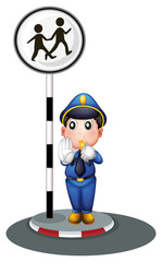 A policeman beside the street signage