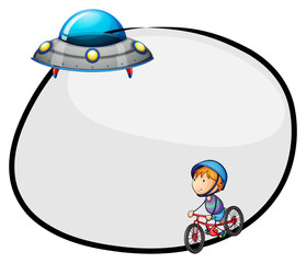 A round empty template with a flying saucer and a boy biking