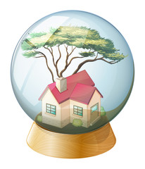 A crystal ball with a house