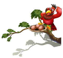 A red bird watching the nest