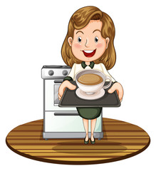 A woman holding a tray with a hot drink