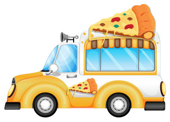 A yellow vehicle selling pizza
