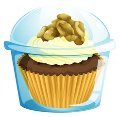 A cupcake inside a transparent container