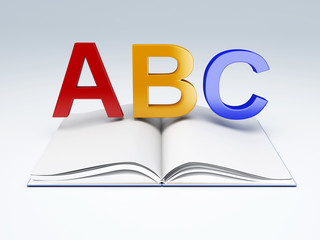 ABC letters with open book. education concept
