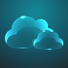 Vector glass two clouds icon. Eps10