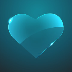 Vector glass heart icon. Eps10
