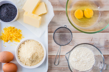 Baking ingredients for a lemon cake