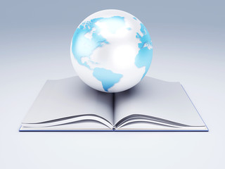 open book and globe. knowledge  concept