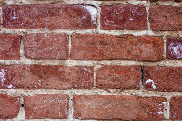 Red brick wall closeup background