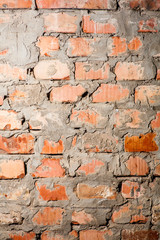 Rough Brick Wall full frame. Red brick wall closeup