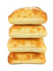 Stack of ciabatta buns isolated on a white background