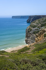 Rugged coastline in Algarve, South of Portugal