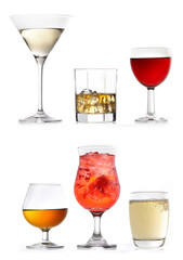 glasses of various drinks