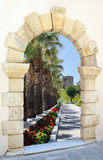 Fototapety Beautiful palm alley in the park through old venetian window