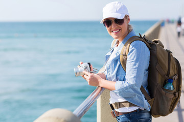 female tourist enjoying holiday vacation