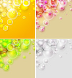 Set of abstract backgrounds, colorful shiny bubbles
