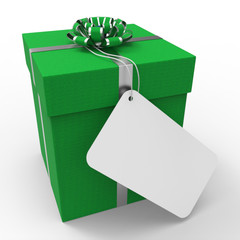 Gift Tag Represents Blank Space And Card