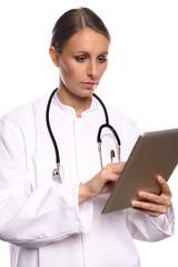 Arzt oder Krankenschwester mit einem Tablet Computer