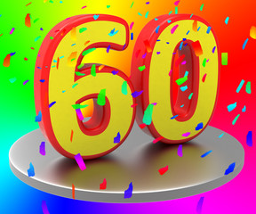 Sixtieth Anniversary Indicates Happy Birthday And Anniversaries