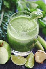 Detox time, healthy green vegetable juice