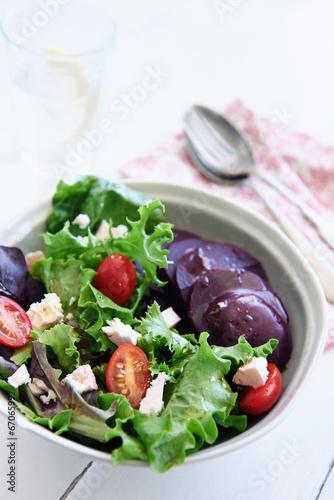Fresh green healthy organic salad with beetroot