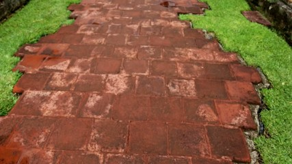 Shot of red bricks which leads to ruins