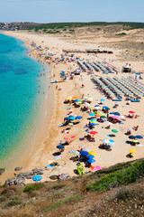 Crowded beach in Sardinia