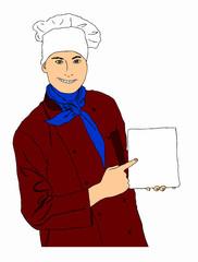 chef con menù su sfondo bianco