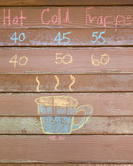 Sketch chalk cup of coffee on wood wall